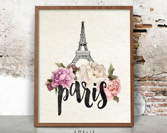 Paris Print, Eiffel Tower Wall Art, Watercolour Flowers, Shabby Cottage Chic Decor, Printable Poster, Digital Download