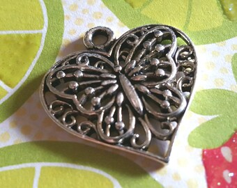 Butterfly Heart Pendant - 10 pc - Heart Butterfly Charms - Silver Butterfly charm - Butterfly Heart Charms - Heart Charms - Butterfly Charms