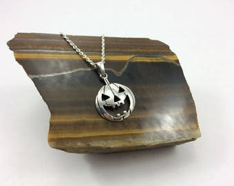 Sterling silver Halloween Necklace, Pumpkin pendant,  jack O lantern pendant, Halloween Gift, Halloween Charm silver