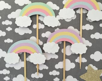 Pastel coloured rainbow cupcake toppers (Pk of 20)