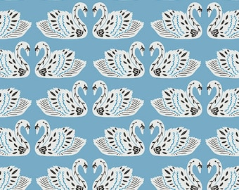 Baltic Swan Fabric, Sky Blue Fabric, Tallin, Art Gallery, Jessica Swift, Eastern Europe, Animal Fabric, 100% Quilting Cotton Fabric
