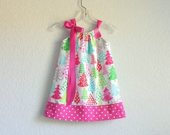 Little Girls Pink Christmas Dress - Colorful Christmas Trees in Pink, Red, Aqua and Lime on White - Size 12m, 18m, 2T, 3T, 4T, 5, 6, 8 or 10
