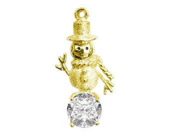 Snowman 14kt Gold Necklace With CZ or Freshwater Pearl
