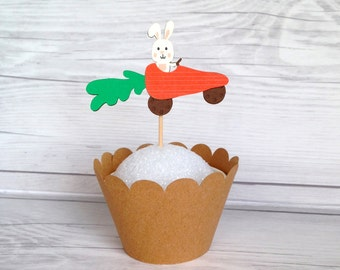 Bunny Driving Carrot Car / Easter Bunny / Springtime Party Picks | Set of 12