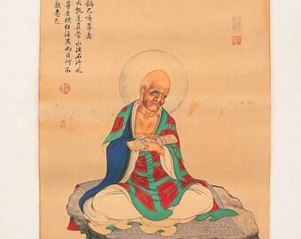 N4607 Hand Painted Tibetan Buddhism Kraft Thangka - Arhat