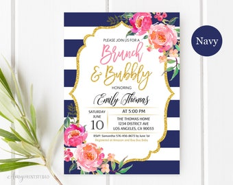 Brunch and Bubbly Bridal Shower Invitation, Floral Navy Bridal Shower Invitations, Striped Bridal Shower, PERSONALIZED, Digital file, #D15