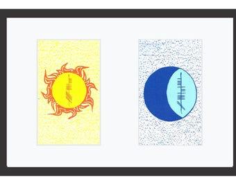 Sun & Moon Framed 14x11 Print