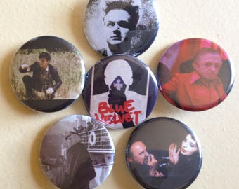 "David Lynch pin back buttons 1.25"" set of 6"