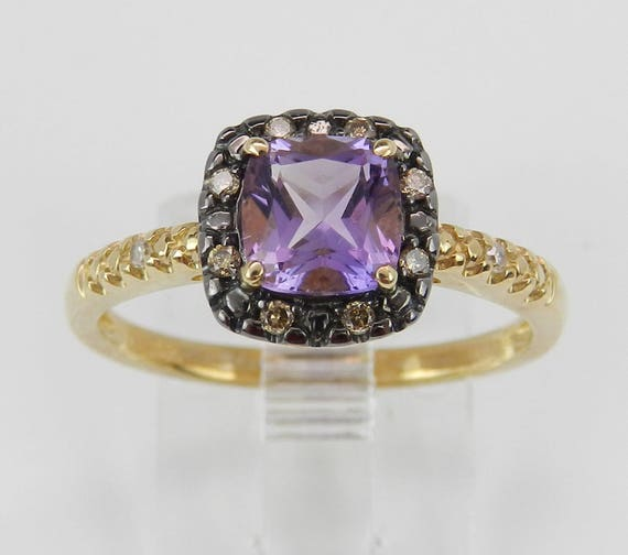 Amethyst and Fancy Diamond Halo Engagement Promise Ring Yellow Gold Size 7 February Birthstone