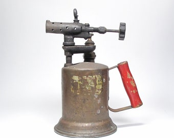 Antique Clayton & Lambert MFG Co. Brass Gas Kerosene Blow Torch Patented 1921 Red Wood Handle Plumbers Trade Tool Blow Torch Rustic Decor