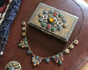 Antique c. 1920s matching Czech card case and necklace - plus later brooch found together as set