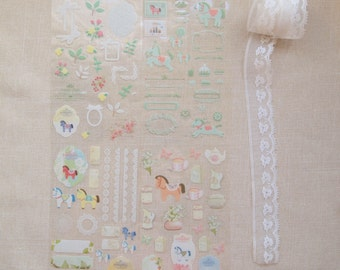 Stickers - 123 pcs of lovely lace pony stickers (Funny collection)