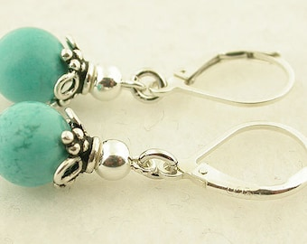 Turquoise Sterling Silver Lever Back Earrings 29