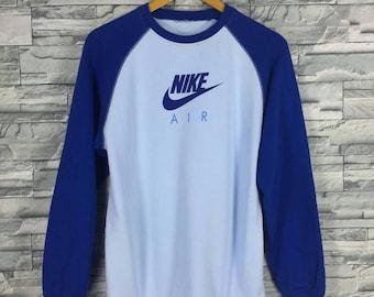 Vintage 90's NIKE AIR Swoosh Sweatshirt Women Medium Blue Sportswear Streetwear Nike Raglen Sweater Nike Pullover Jumper Size M