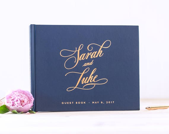 Wedding Guest Book Rose Gold Foil Navy wedding guestbook landscape horizontal wedding book photo guest book personalized planner sign in