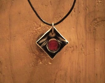 Hand-made necklace by me - Porcelain diamond shaped, blue-black on white & red glass pendant on leather cord - magnetic clasp.