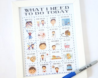 Boys routine print, toddler routine imagery, kids daily visual aid, Autism, ADHD, boys imagery print, picture reoutine print, FRAME at HOME