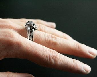Small Skull Ring - Silver Skull Ring - Skull Ring - Mini Skull Ring - Elegant Skull Ring - Rocker Skull Ring - Goth Skull Ring - Biker Ring