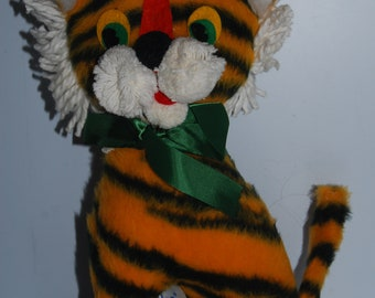 50s Tiger Elka plush doll standing orange vintage toy soft nature animal 60s black stripes children kids retro