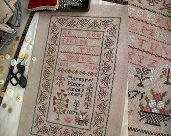 Margaret Moore Sampler / Cross stitch pattern / PDF
