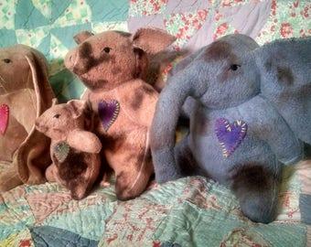 Waldorf Elephant, Sheep, Pig, Bear, or Bunny Rabbit Plush Steiner Inspired Animal