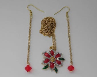 Poinsettia Necklace Earrings Set