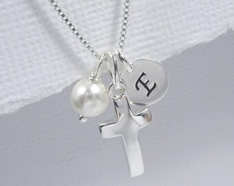 Confirmation Gift, Personalized Cross Necklace, Sterling Silver Cross Necklace, Tiny Cross Necklace, Baptism Gift, Goddaughter Gift Necklace
