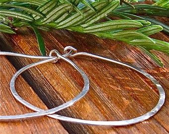 Recycled Sterling Silver Hoops,  Argentium Sterling Hoops, Hammered Silver Hoops