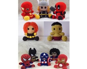 Pushie Amigurumi Batman Spiderman Captain America Superman Iroman Hulk Deadpool Black Widow Thor SuperHero teddy crochet Marvel Avengers