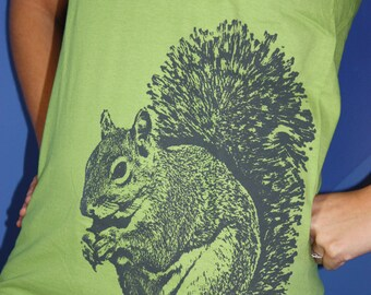 Super Squirrel TShirt, Gray on Kiwi - Unisex S, M, L, XL