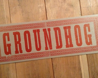 GROUNDHOG Red animal art print room decor prairie letterpress sign