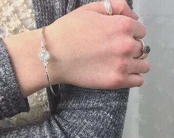Genuine Aquamarine Bangle Bracelet / 14k Gold Filled or Sterling Bangle / March Birthstone / Mothers Jewelry / Gemstone Bangle / Mom Gift