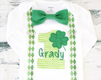 Boy First birthday St. Patrick's Day Boy first St. Patrick's Day themed cake smash outfit boy suspenders set boy bow tie set Clover themed