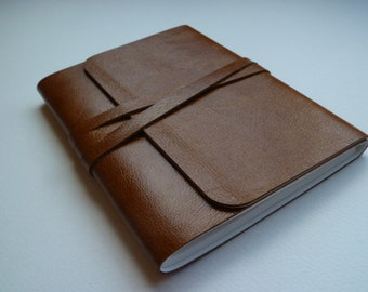 Leather Sketchbook Leather Journal Leather Notebook. Travel Journal.  Golden Tan Leather.