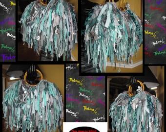 Turquoise Fringe Bag,Upcycle Handbag,Bling,Beads,Jewels,Rhinestone,ultra Fringe,Custom Made,One Of A Kind,Hippie,BoHo,Funky,Purse,Tote