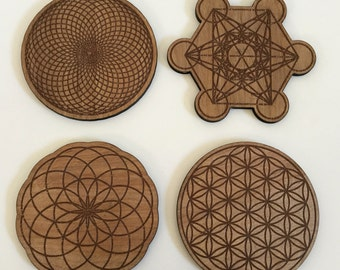 Sacred Geometry Coasters / Laser Cut / Drink coasetrs / Set of 4