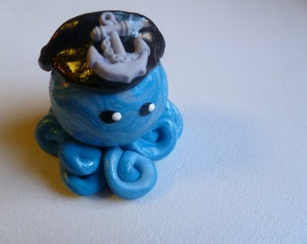 Captain Octopus Mini Marble Friend in Royal and Light Blue Swirl with Black Captain Hat  and Anchor Accent