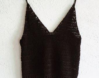 Tank top / singlet top / crochet top / casual top / organic / cotton / vegan clothing / organic clothing / ethical / organic singlet / gift