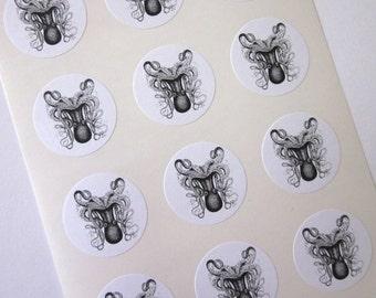 Octopus Stickers One Inch Round Seals