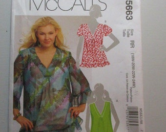 McCall's 5663 ~ Misses' and Women's Tops –Plus Size Sewing Pattern