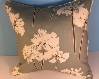 18' Decorative Floral Corded Pillow Cover - Blue/Green and Cream 18x18