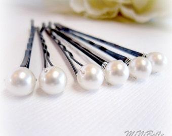 Bridal Hair Pins. Pearl Hair Pins. White Pearl Bridal Hair Pins. Set of 6 Pearl Hair Pins. 6mm Swarovski Pearls