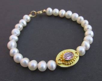 Freshwater Pearl with Gold Vermeil Bead Set with Faceted Pink Topaz - Handmade Jewelry