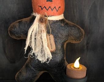 Primitive Halloween Headless Horseman Large Bowl Filler / Ornie