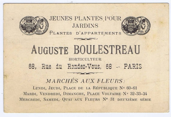 Antique french 19th century business card for a paris plant antique french 19th century business card for a paris plant nursery paper ephemera france typography colourmoves Image collections