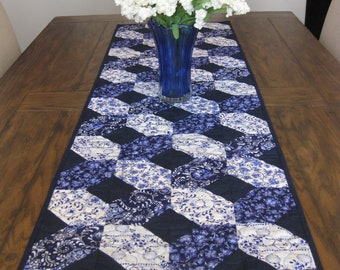 CLOSE OUT SALE Shades of Blue Extra Long Quilted Table Runner