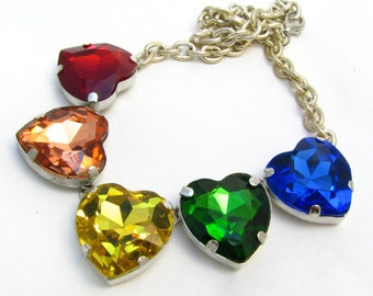 Rainbow Chakra Heart Necklace - Large Crystal Necklace w/ Red, Orange, Yellow, Green, Blue Gems