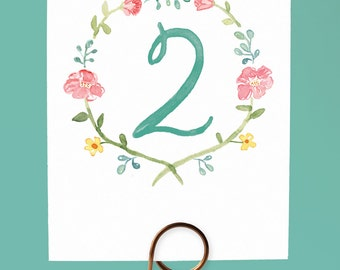 Watercolor Flower Table Numbers, Watercolor Wreath Table Numbers, Garden Wedding Table Numbers, Garden Table Numbers, Pretty Table Numbers