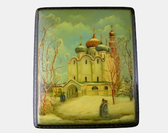 Russian Lacquer Box, Vintage Fedoskino Black Lacquer Box With Russian Church Scene, Cathedral Scene, Trinket Box, Hand Painted Box