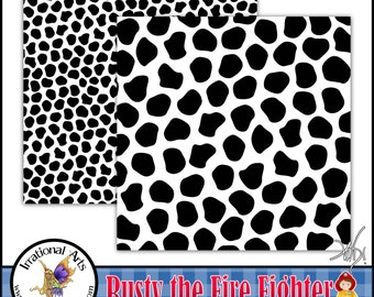 Rusty the Fire Fighter Dalmation papers - 2 digital papers JPG format [INSTANT DOWNLOAD]